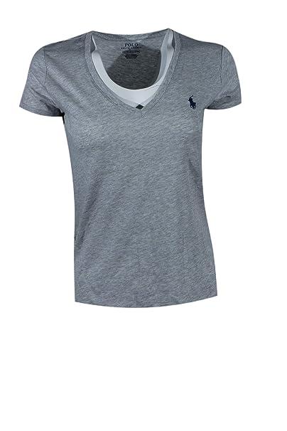 Ralph Lauren Sport Ligero Cuello en V T-Shirt de la Mujer: Amazon ...
