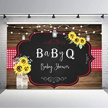 Mocsicka Bbq Baby Shower Backdrop Country Rustic Sunflower Baby Shower Background Vinyl 7x5ft String Lights Wood Photo Backdrops Baby Shower