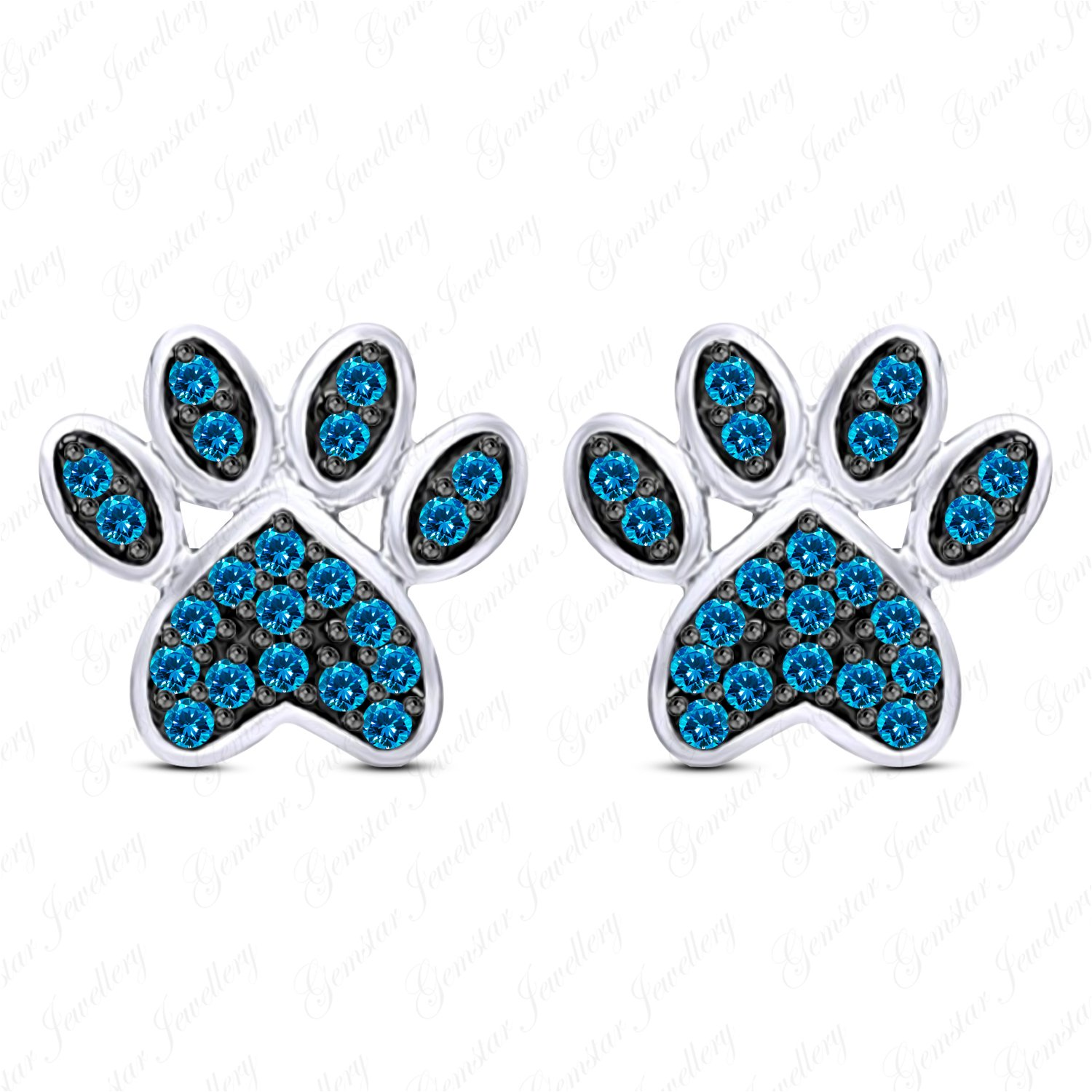Gemstar Jewellery Excellent Blue Topaz Dog Paw Stud Earrings In 14k White Gold Finish Pure 925 Silver