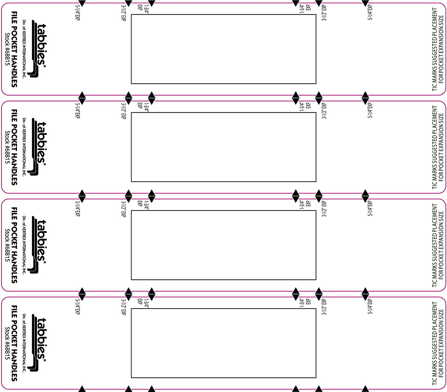 by Tabbies TAB68805 48 per Pack Red//White Tabbies 9-5//8 x 2 Inches File Pocket Handles
