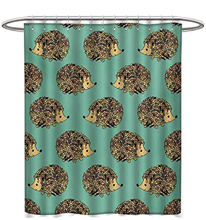 Hedgehog Shower Curtains Fabric Extra Long Abstract Animal Design Cartoon Style Cute Creatures Funny Faces Friendly