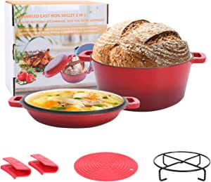 Asany 2-in-1 Enameled Cast Iron Double Dutch Oven Set, 5QT Cast Iron Casserole Pot + 1.6QT Skillet Lid with Handle Covers and Stand for Home Cooking, Oven, BBQ
