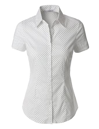 5bad64d8 LE3NO Womens Polka Dots Short Sleeve Button Down Tailored Shirt:  Amazon.co.uk: Clothing