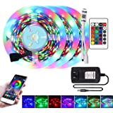 XUNATA Fita de luzes LED, 15 m Bluetooth inteligente, sincronização com luzes de mudança de cor 5050 RGB não à prova d'água c