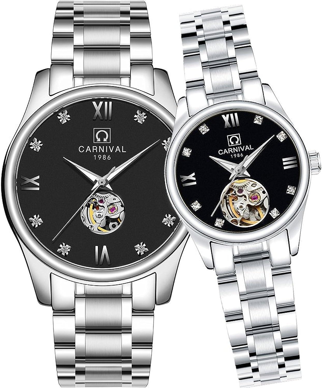 カーニバル彼または彼女自動機械カップル腕時計メンズと女性のギフトセット2