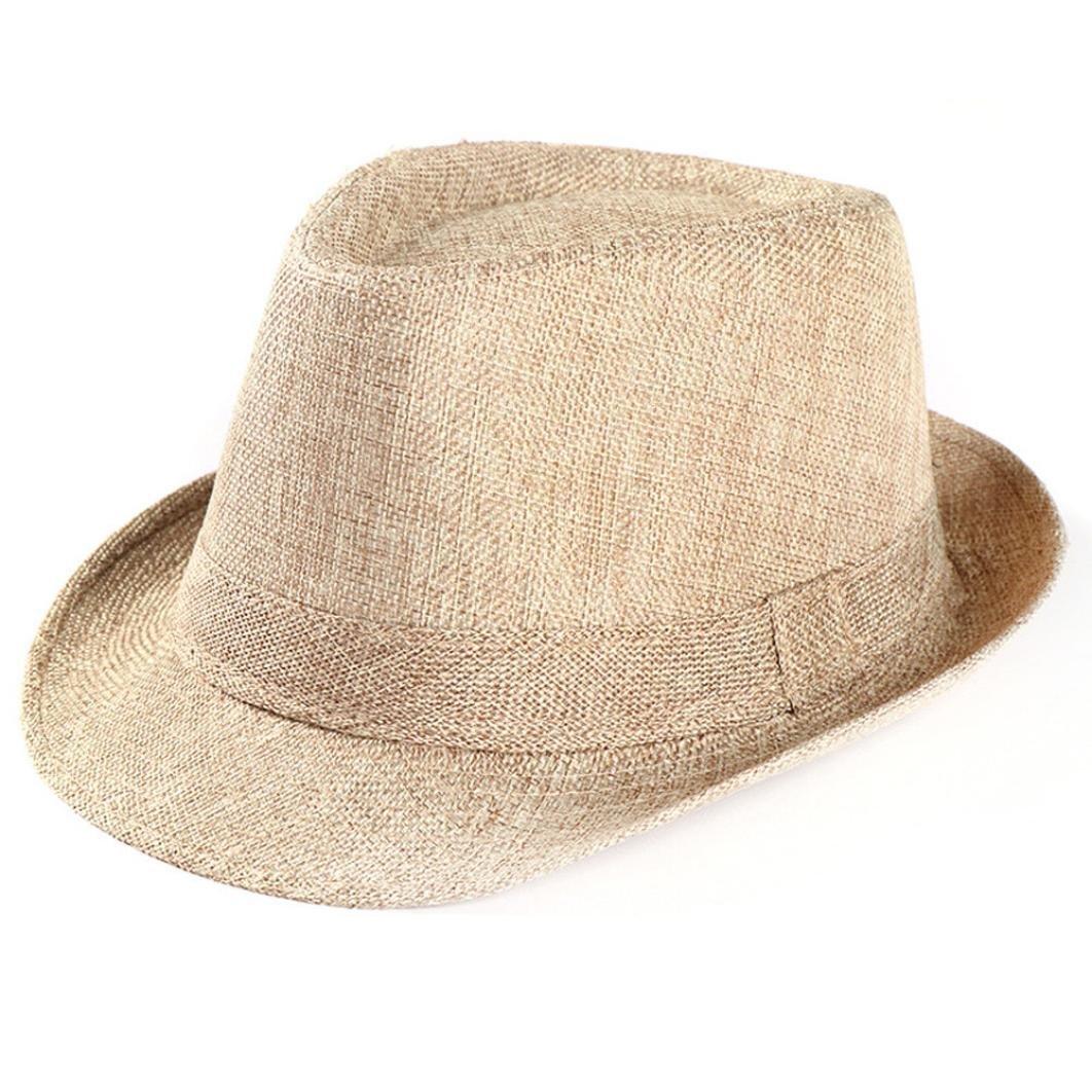 Kimloog Women Men's Summer Short Brim Straw Fedora Beach Sun Hat Jazz Cap (Beige)