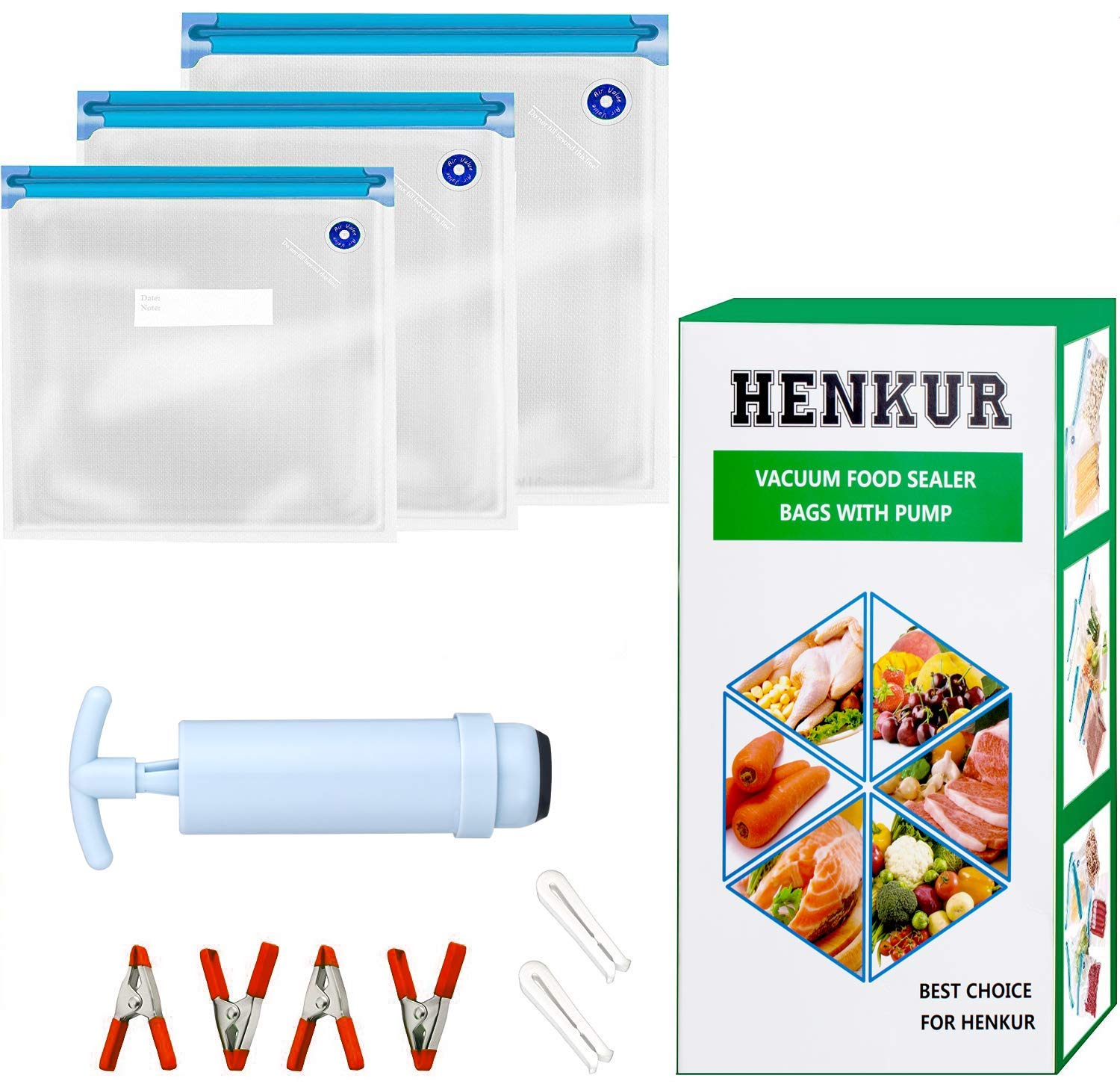 Sous Vide Bags BPA Free Reusable Kit for Anova and Joule Cookers,30 Vacuum Food Storage Bags(3 Sizes),1 Hand Pump and 2 Sealing Clips and 4 Sous Vide Bag Clips for Food Storage and Sous Vide Cooking by HENKUR