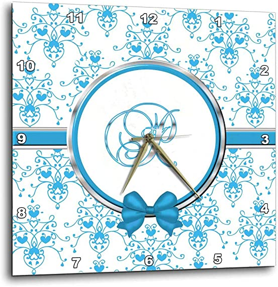 3dRose dpp_164848_1 Elegant Blue and Silver Heart Damask Monogram Letter P Wall Clock, 10 by 10-Inch