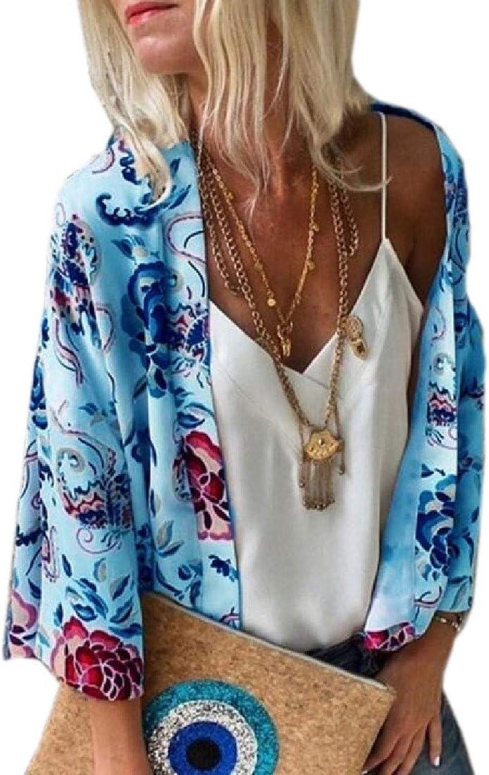 GAGA Women Kimono Cardigans Floral Print Chiffon Beach Cover ups Casual Tops