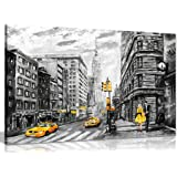 Black White Yellow New York City Oil Painting Canvas Wall Art Picture Print (36x24in)