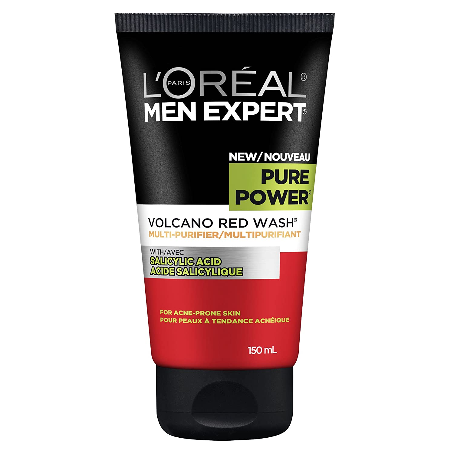 L'Oreal Paris Men Expert Pure Power, Multi-Purifying Volcano Red Wash Cleanser, Foaming Face Wash With Salicylic Acid, For Acne Prone Skin, 150 ML L' Oreal Paris