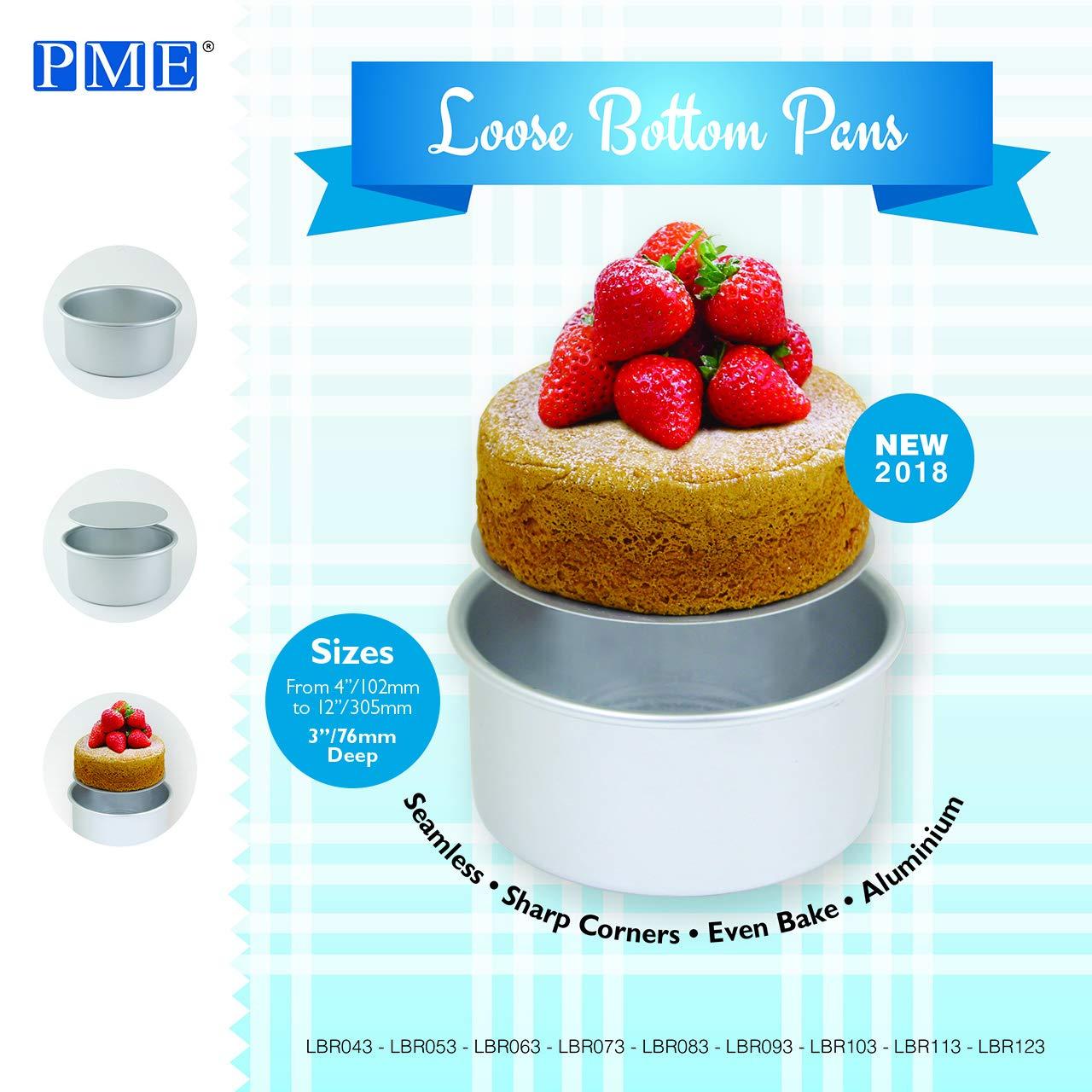 Molde redondo de aluminio anodizado para tartas con base suelta PME LBR043 color plateado