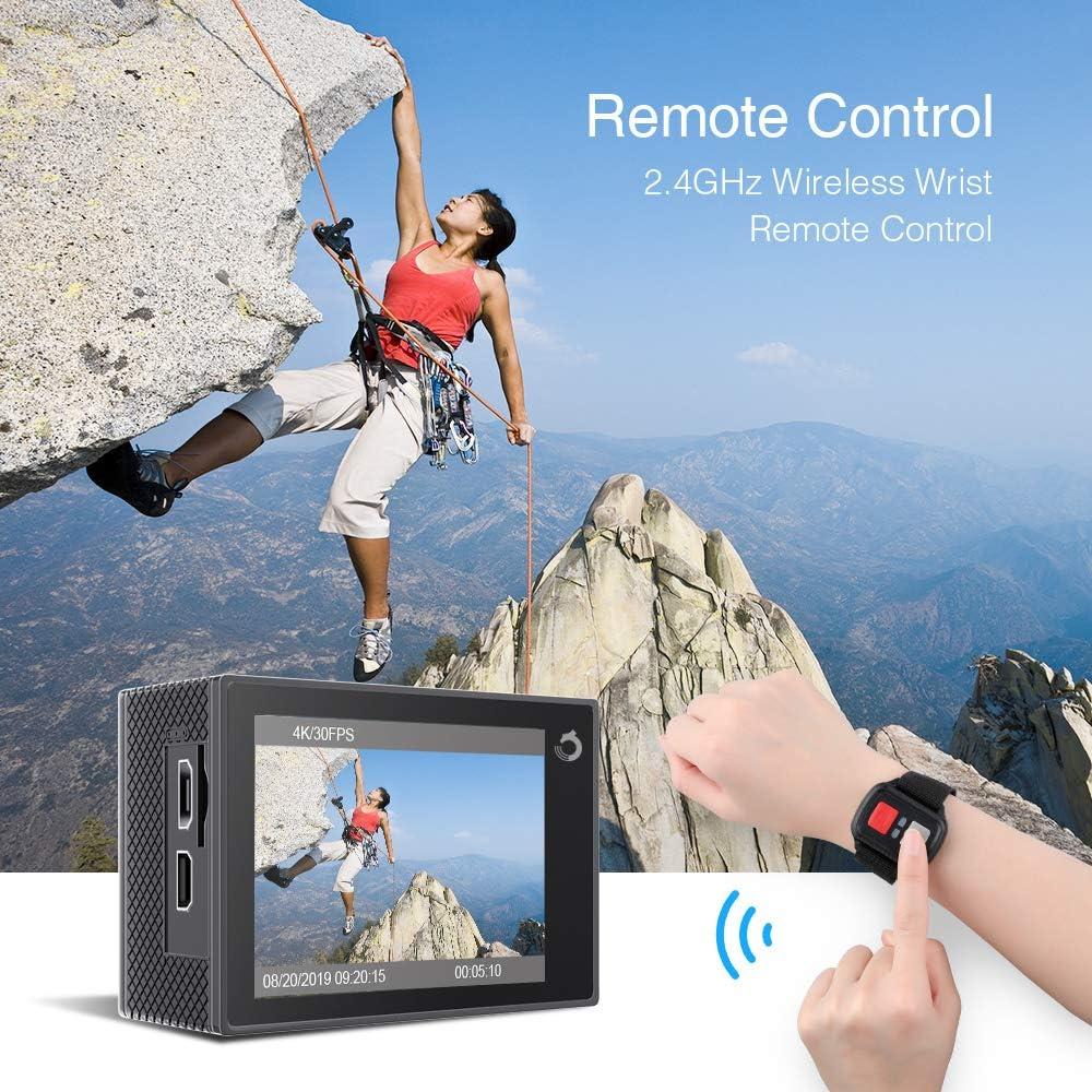 Dragon Touch Cámara Deportiva WiFi 4K 20MP Cámara de Acción con Control Remoto Mic Externo EIS 170°Gran Angular Cámara Sumergible Acuática 30m ...