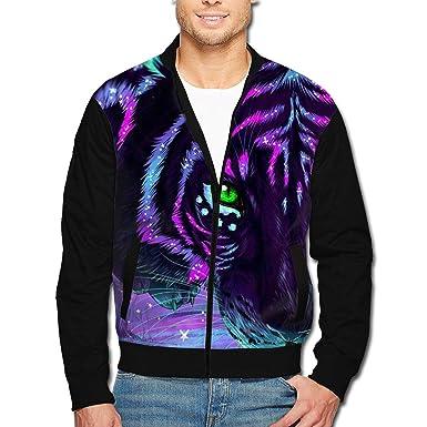 53c5b9a1883e Amazon.com  Men s Jacket Full-Zip Jacket Purple Light Tiger 3D Print  Outdoor Zipper Sweatshirt Tops Coat  Clothing