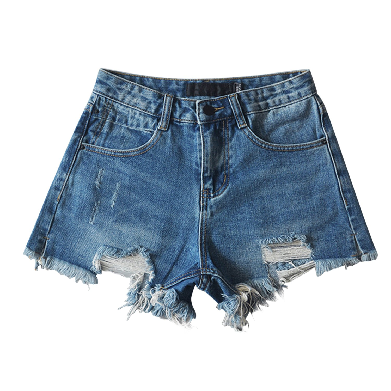 Misscat Womens Denim Jeans Distressed Worn-Out Ripped Short Pants