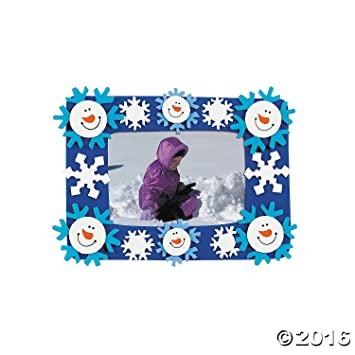 Amazon.com: 12 Foam Smile Face Snowman Photo Frame Magnet Craft Kits ...