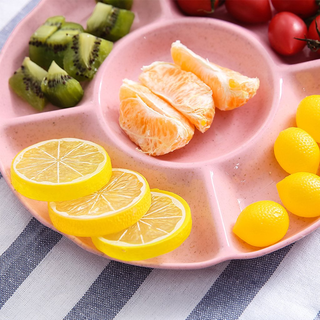 JENOR Multi-function Plastic Fruit Plate Dessert Tray Plate Snack Dish 6 Compartments