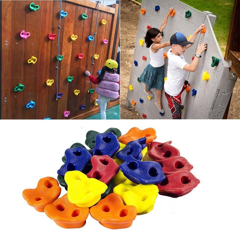 Piedras de pared de escalada de roca de colores para pies de mano, kit de instalación de agarre, piedras de escalada para niños Tamaño libre amarillo