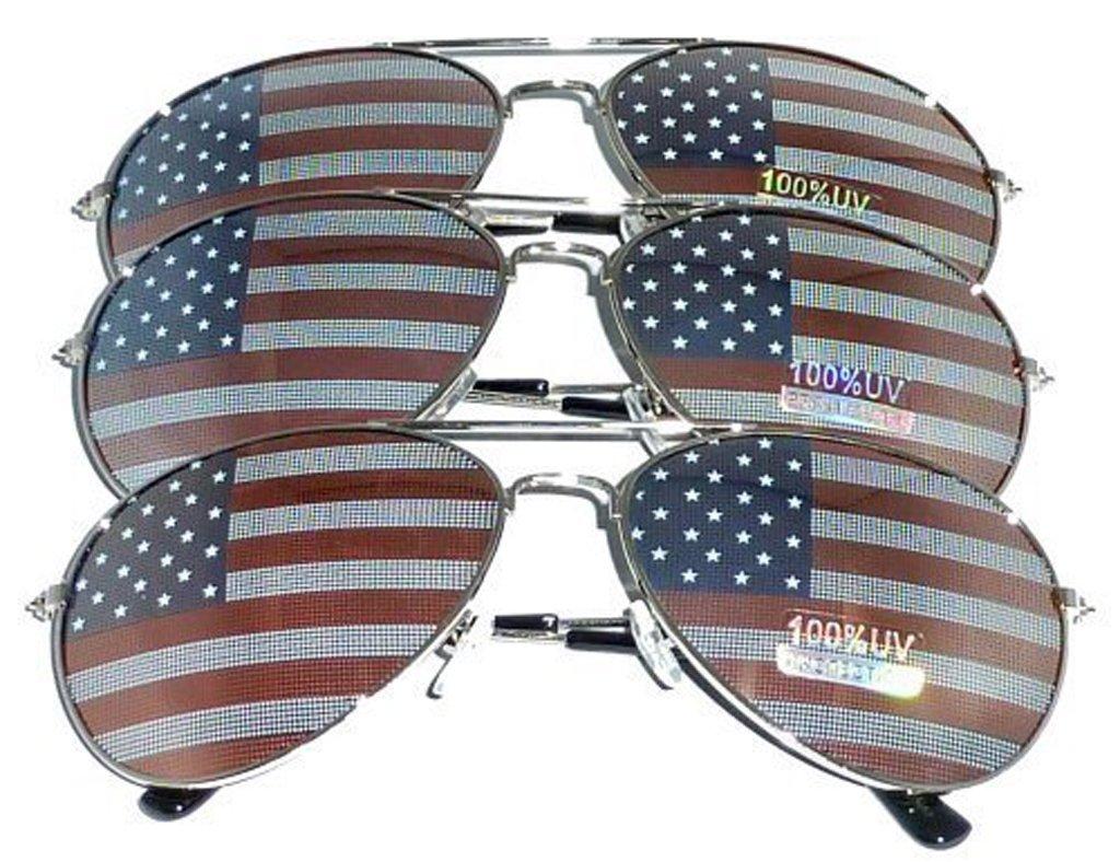 MJ Eyewear American Flag Aviator Sunglasses Glasses Gift Box (3 Pack, USA FLAG)