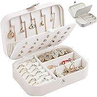 Smyckeskrin dam, PU-läder smycken förvaringslåda, litet smyckesfodral, resesmyckeskrin att ge bort, vitt dubbla lager…