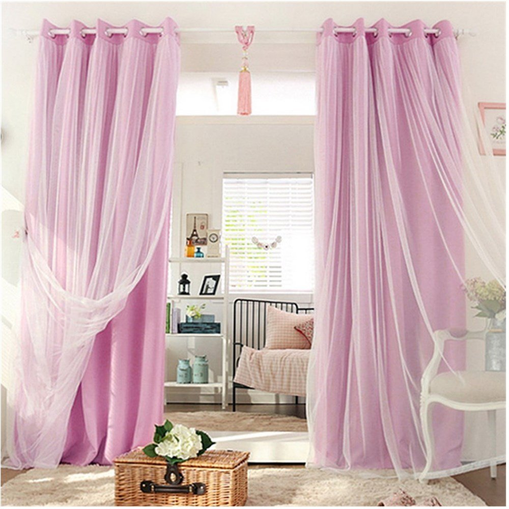 SearchI Mix and Match Curtain Blackout Curtains Panel Pink and Tulle Lace White Sheer Curtains for Nursery with Grommet Top 1 Panel 42W x 63L Inch