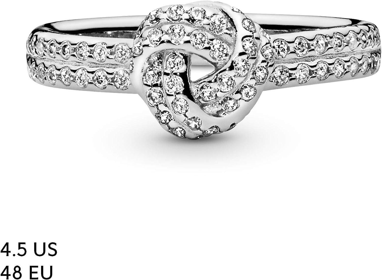 925 Sterling Silber funkelnden Bogen Knoten Ring CZ fuer Frauen Valentinsta N3E3