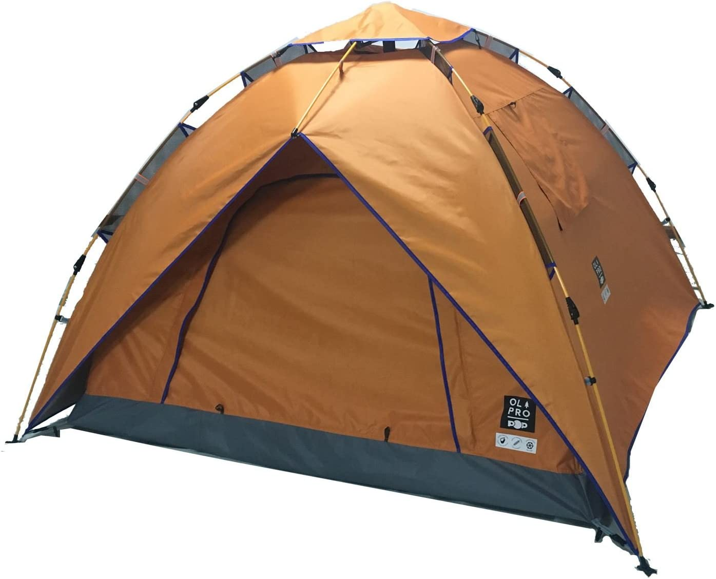 OLPRO Outdoor Leisure Products POP Tent 2.1mx 2.1m 2 Berth Pop Up Festival Tent Orange