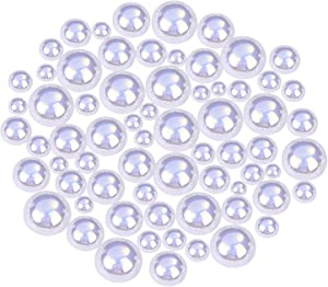 Shappy 550 Pieces AB White Flatback Imitation Pearls Resin Pearl Beads Half Round Faux Pearls for DIY Crafts Making, 6 Sizes