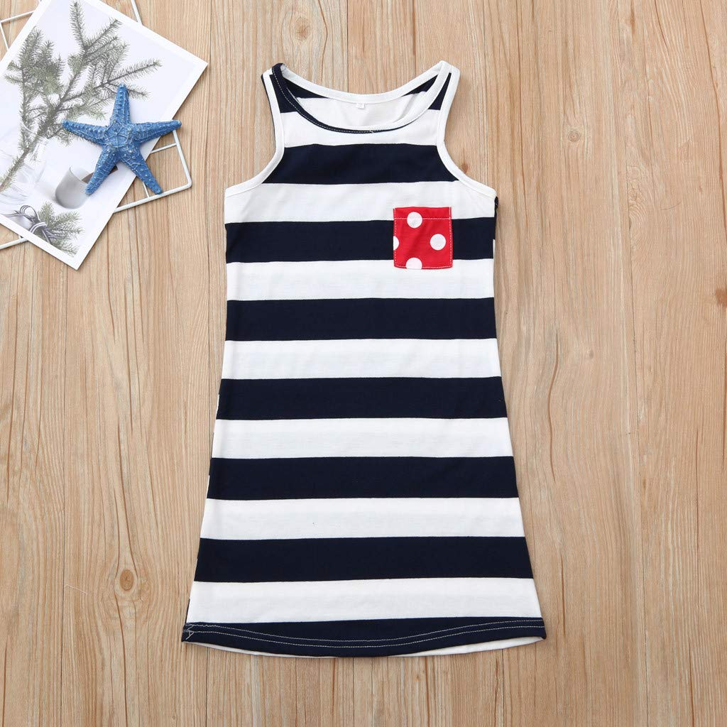 5-6Years, Red Summer Family Outfits For Independence Day Mommy Me Summer Sleeveless American Flag Vest Shirt Blouse 4th Of July Baby Dress