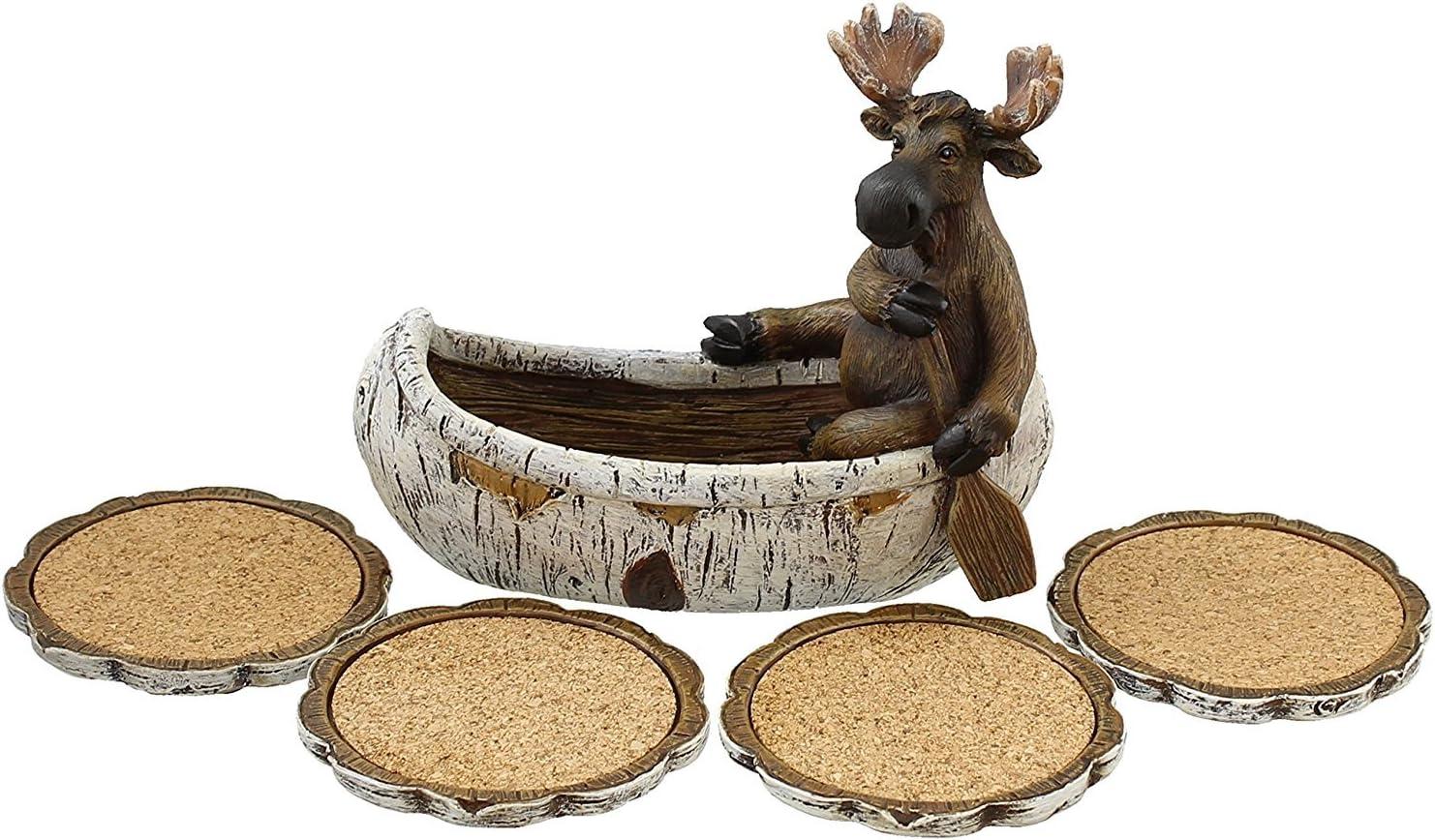Amazon Com Decorative Moose Canoeing Coaster Set 4 Rustic Cork Coasters Holder Set Coasters