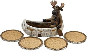 Decorative Moose Canoeing Coaster Set - 4 Rustic Cork Coasters & Holder Set