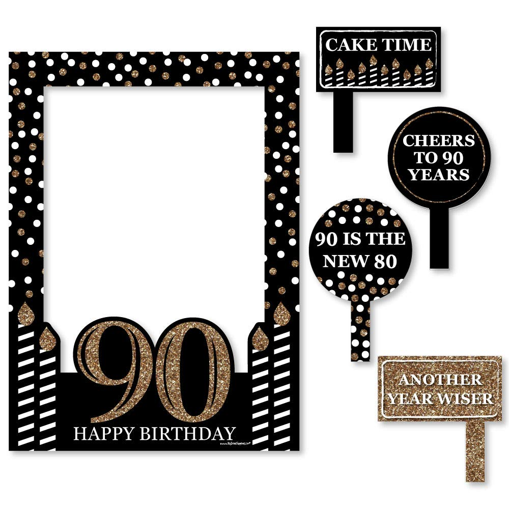 Big Dot of Happiness Adult 90th Birthday - Gold - Birthday Party Selfie Photo Booth Picture Frame & Props - Printed on Sturdy Material