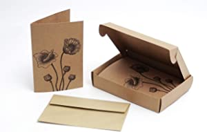 All Occasion Blank Note Cards with Envelopes – Box Set of 20 Floral Kraft Paper Card Pack – 4 x 6 Inch Recycled Notecards with Poppy Flower Design