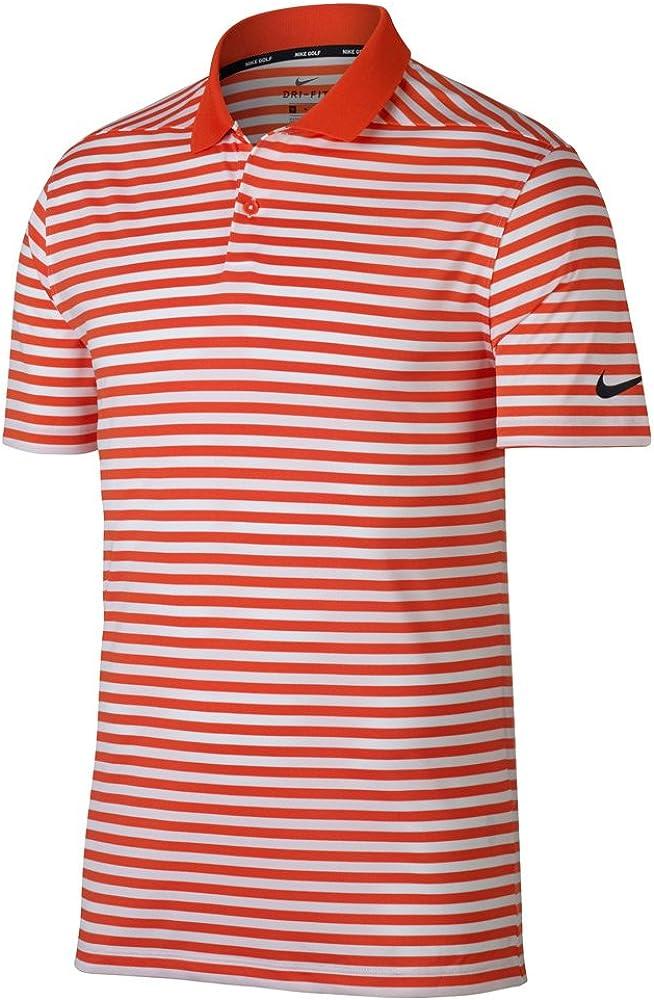 NIKE New DRI FIT Victory Stripe Golf Polo Team Orange/White/Black ...