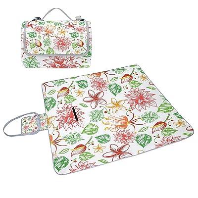Coosun Painted Fleurs Tropicales Couverture de pique-nique Sac pratique Tapis résistant aux moisissures et étanche Tapis de camping pour les pique-niques, les plages, randonnée, Voyage, Rving et sorties