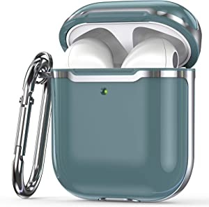 KIQ Premium Protection Case Cover Anti-Scratch Full-Body Slim and Lightweight for Airpod Charging Case Compatible with Apple Airpod 1st & 2nd Generation (Dark Teal/Silver)