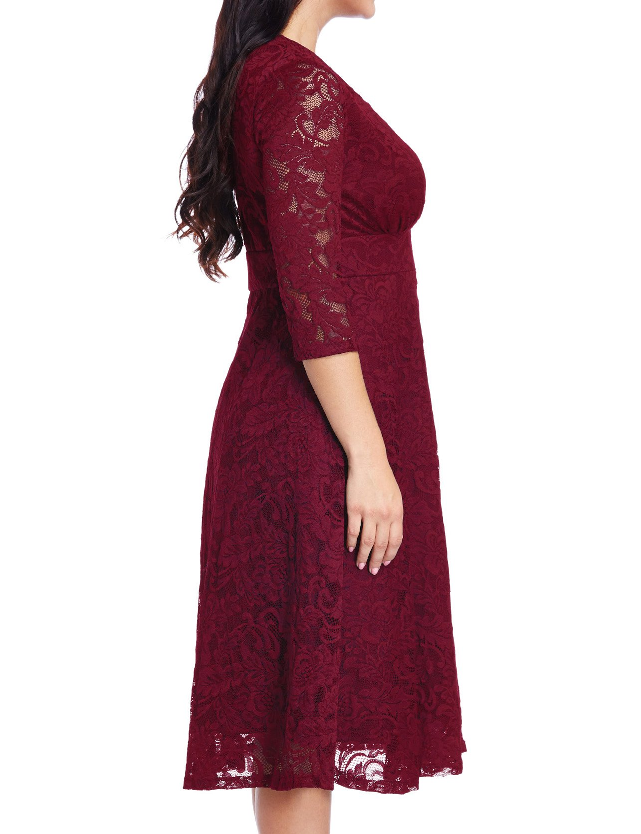 GRAPENT Women's Lace Plus Size Mother Of The Bride Skater Dress Bridal Wedding Party Maroon 16W by GRAPENT (Image #4)
