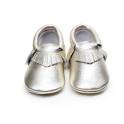 5575fe9ab1fd2 Backbuy Bébé Garçons Filles Chaussures en Cuir Souple Chaussures premiers  pas Chaussons A Franges 0-24 Mois