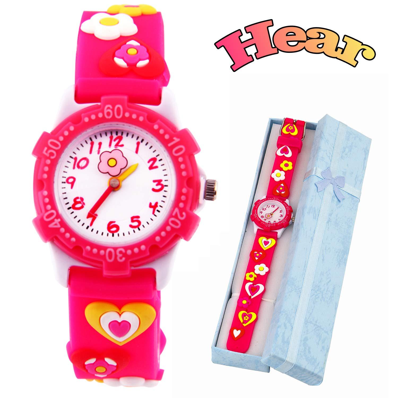Kids Watch for Boys Girls by Vinmori, 3D Time Teacher Toddler Cartoon Watch, Cartoon Loves Pattern Silicone Band Waterproof Quartz Watch, Best Gift for Childrens (Red)