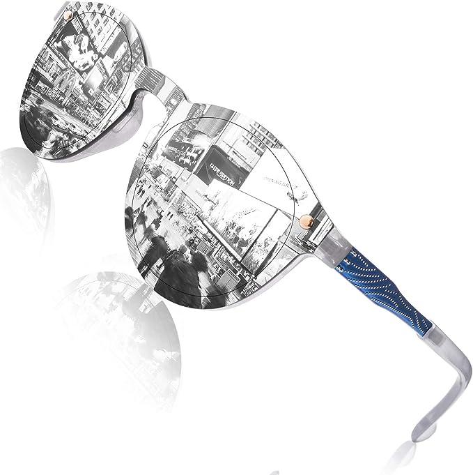 GQUEEN Occhiali da Sole Futuristic Shield Senza Bordo Lenti a Specchio MEO5