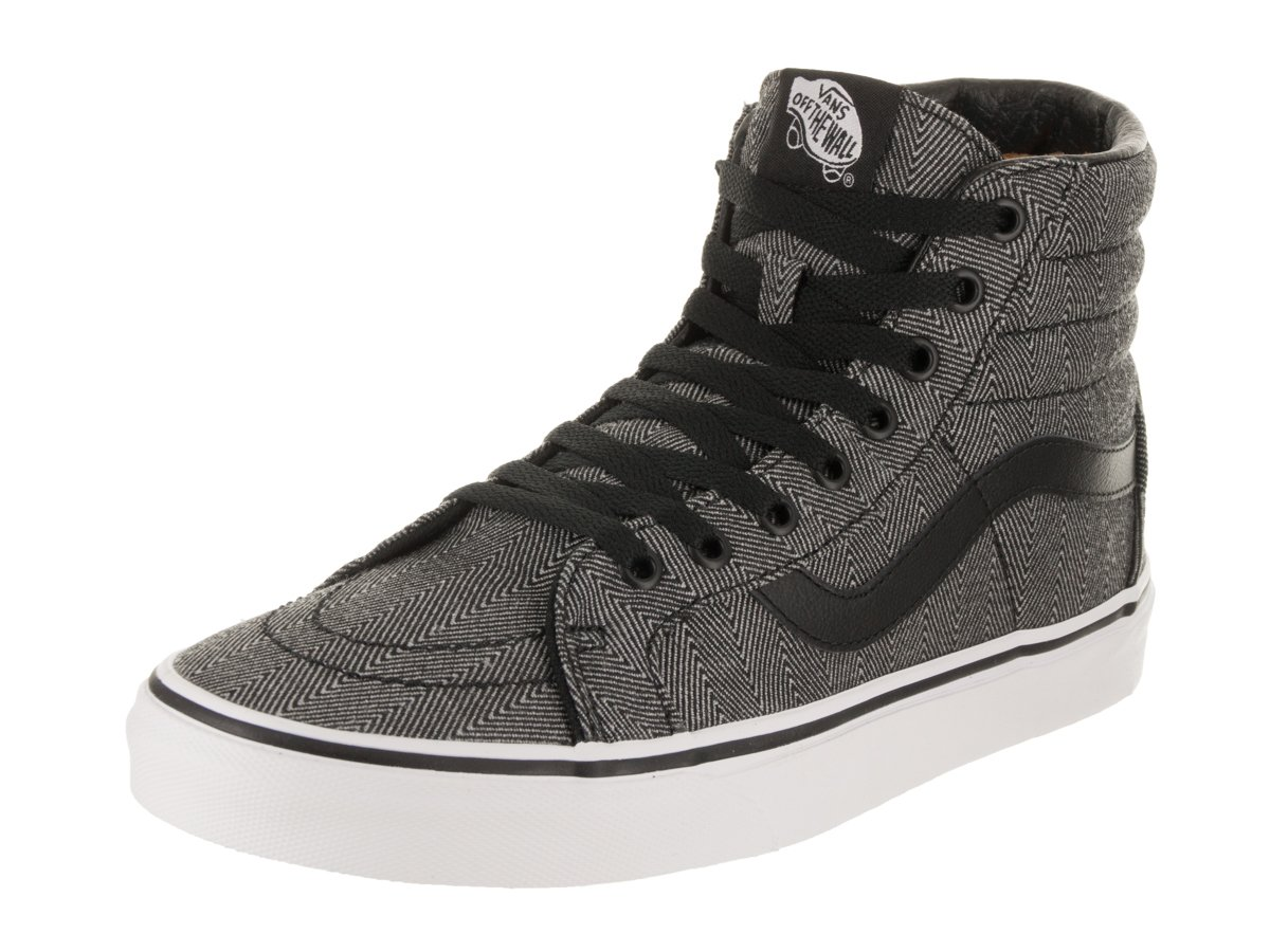 Vans Unisex SK8-Hi Reissue (Oversized Herringbone) Black Herringbone Skate Shoe 9 Men US/10.5 Women US