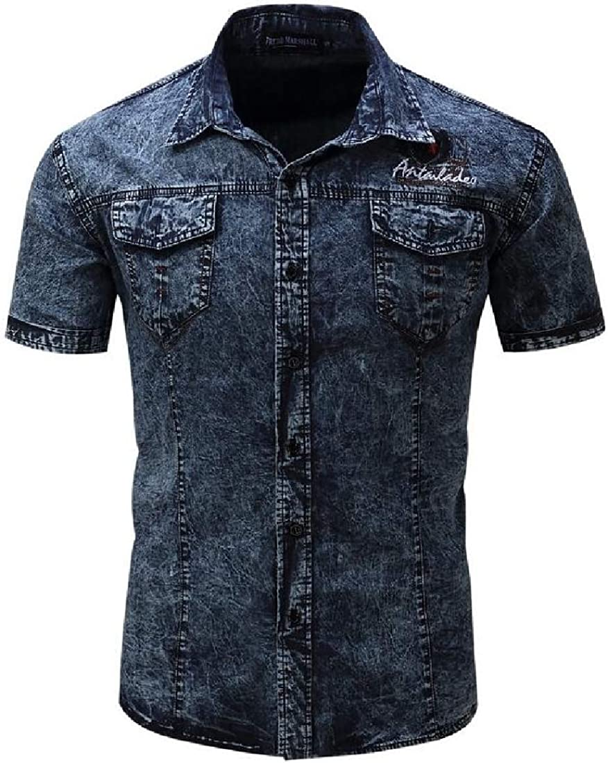 Fubotevic Mens Short Sleeve Cotton Button Down Slim Fit Military-Style Tactical-Shirt Denim Shirt