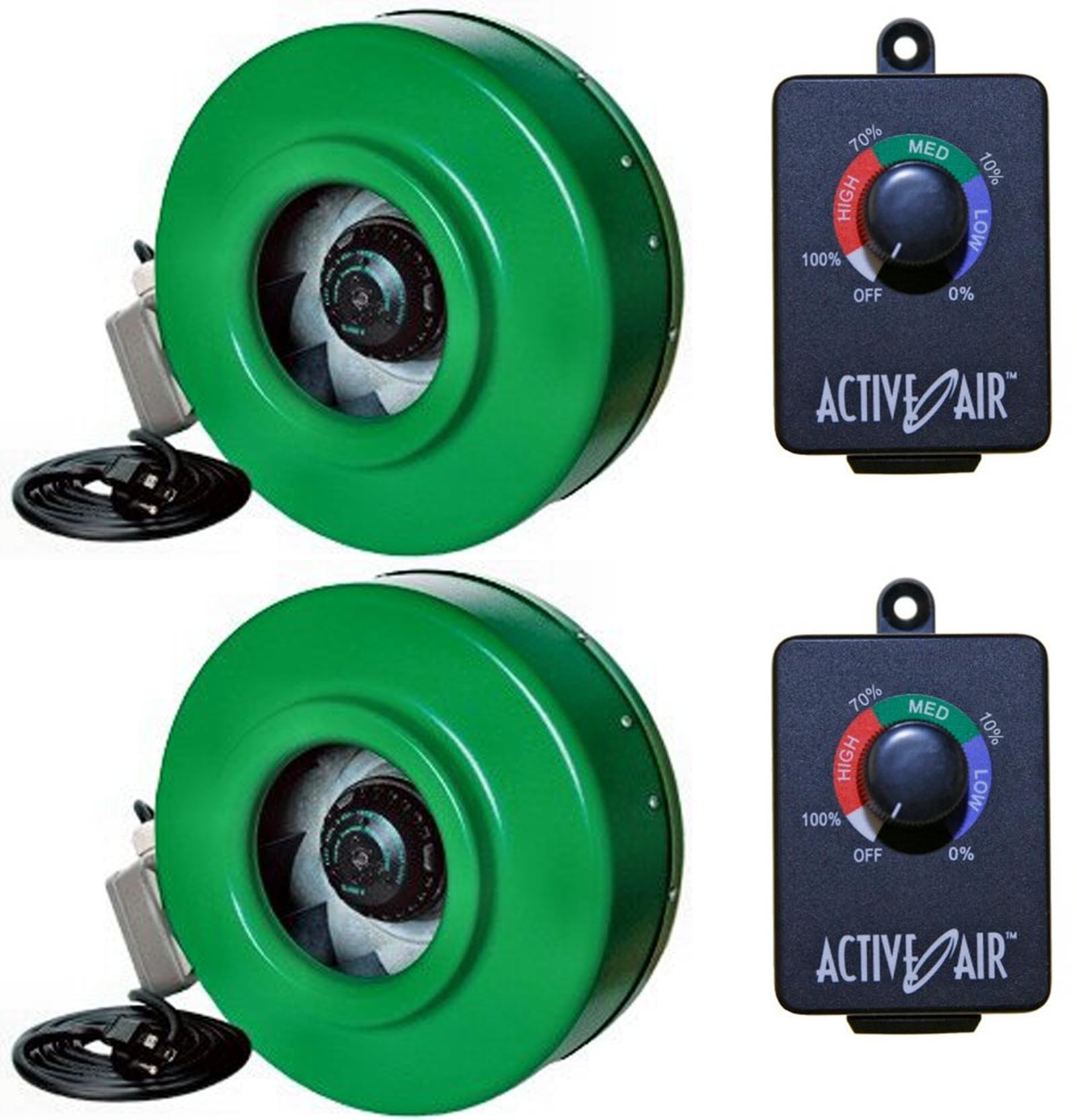 (2) HYDROFARM ACDF6 Active Air 6'' In-Line Fans + (2) ACSC Fan Speed Controllers