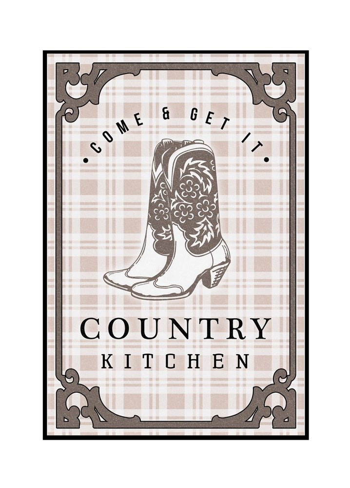 Country Kitchen - Cowboy Boots on Plaid (24x36 Framed Gallery Wrapped Stretched Canvas)