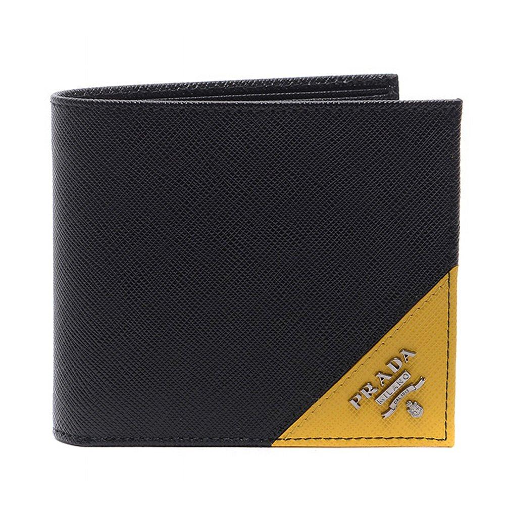 [プラダ PRADA] 17S/S メンズ サフィアーノロゴ 二つ折り財布 BLACK YELLOW [並行輸入品] B07F2L7PHK