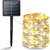 BHCLIGHT Solar String Lights, 200 LED Solar Lights Outdoor, Waterproof Silver Wire Lights 8 Modes Fairy Lights Decoration Twinkle Lights for Garden, Yard, Patio, Lawn, Party, Wedding (Warm White)