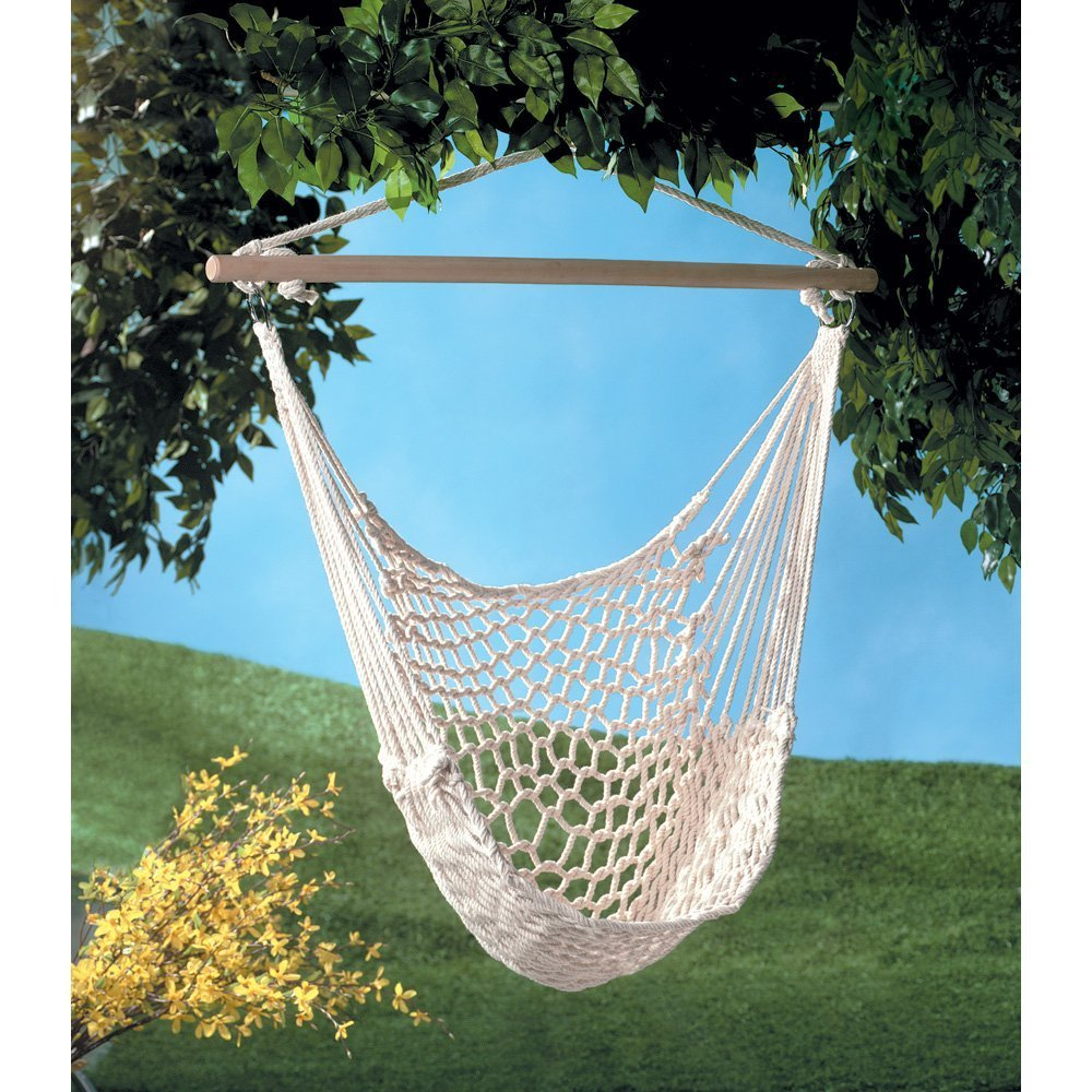 Alightup Hanging Hammock Chair Swing Chair Cradle Outdoor Garden Patio Yard Porch Chair Wood Stretcher 35-Inch Wide Seat Cotton White