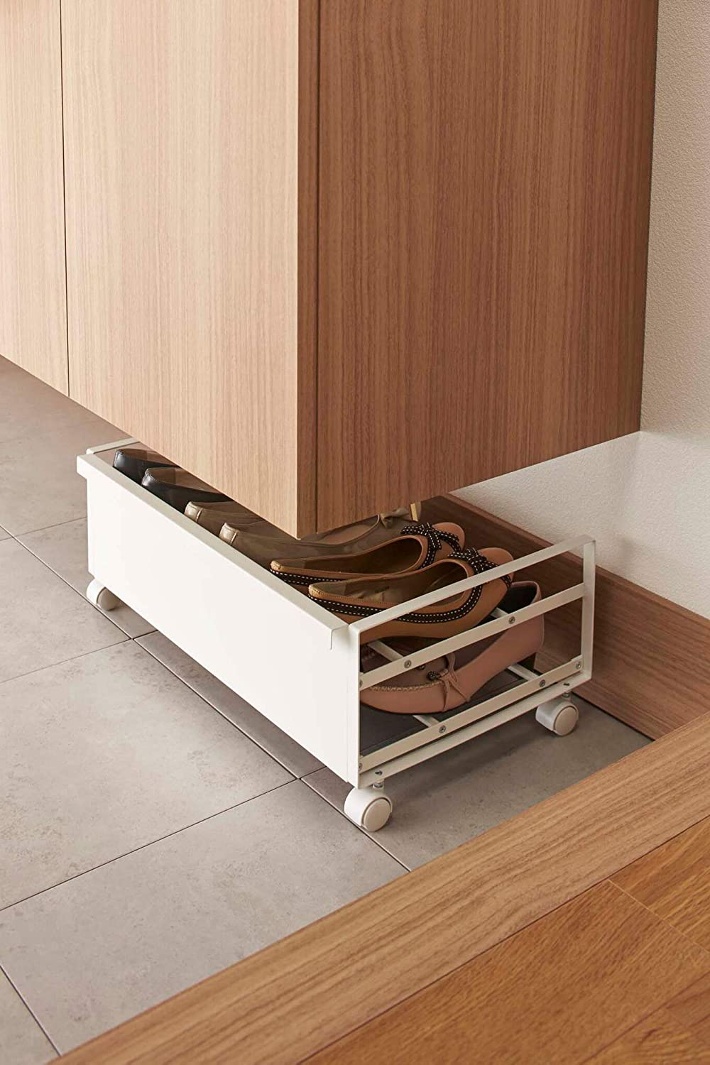 Red Co Black 91253-TNC Space Saving Rectangular Footwear Storage Organization Double Tier Mobile Rolling Shoe Rack