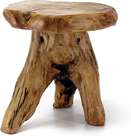 Amazon Com Welland Tree Stump Stool Live Edge Natural Edge Side Table Plant Stand Nightstand Mushroom Stool 14 Tall Garden Outdoor
