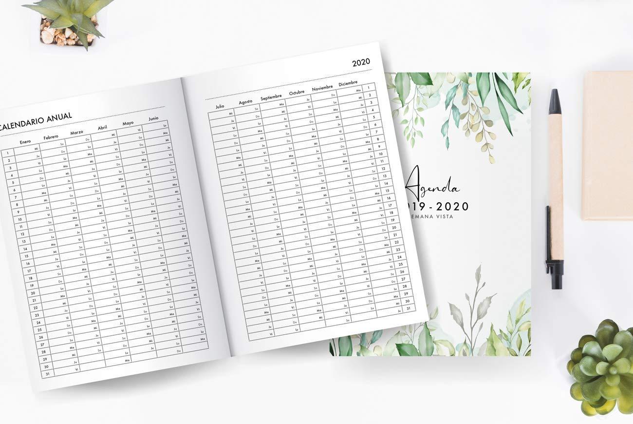 Agenda 2019 2020 Semana Vista: Agenda 2019/2020 18 meses: Organiza tu día - Agenda semanal - Julio 2019 a Diciembre 2020 - español - diseño floral